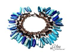 Chunky beaded charm bracelet made of blue stone by BeYouCollection