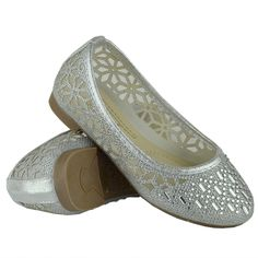 Kids Ballet Flats Lace Mesh Rhinestone Accent Casual Slip On Shoes Silver Ballet Kids, Casual Slip On Shoes, Girls Flats, Winter Snow Boots, Silver Shoes, Ballet Flats, Loafers, Jewels, Lace