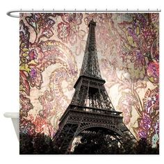 Floral Eiffel Tower Shower Curtain