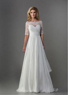 CHIC CHIFFON A-LINE BATEAU NECKLINE NATURAL WAISTLINE WEDDING DRESS IVORY WHITE LACE BRIDAL GOWN HANDMADE CUSTOM