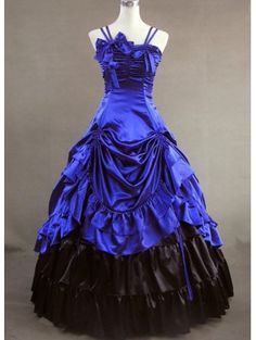 Gorgeous Blue and Black Double-Layered Gothic Victorian Dress