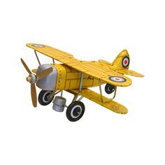 curtis-biplane-tin-toy-yellow