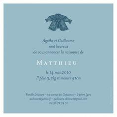 Faire-part de naissance Cardigan blanc garçon by Tomoë pour FairepartNaissance.fr #rosemood #atelierrosemood #birth #announcement