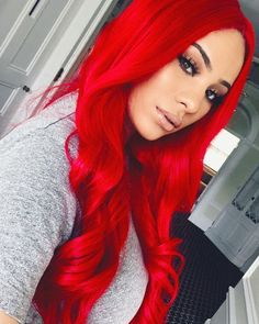 20 Ideas For Bright Red Hair Outfits Fashion Bright Red Hair, Red Hair Color, Lace Front Wigs, Lace Wigs, Red Hair Outfits, Fire Red Hair, Bougie Hair, Dame Chic, Red Hair Extensions
