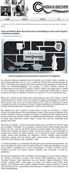 Cinemaskope Festa do Prêmio Bom Gourmet será comandada por Ana Luiza Trajano e Guilherme Guzela