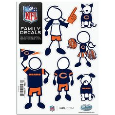 Chicago Bears NFL Family Car Decal Set (Small)