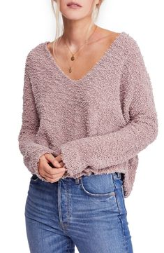 59755033b50 A textured knit maximizes the cozy-chic throwback style of a relaxed  sweater with a