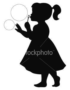 Dibujo de niña con pompas de jabón