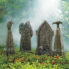 Welcome tombstone with vulture, Enter if You Dare, Rest in Pieces, and Beware tombstone from Grandin Road.  $69 and $89.