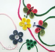 Quilled Rakhis. Quilling Jewelry, Paper Quilling, Handmade Decorations, Handmade Crafts, Quilling Rakhi, Handmade Rakhi Designs, Rakhi Cards, Rakhi Making, Quilling Designs