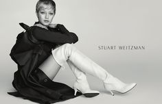 Model Gigi Hadid poses in Stuart Weitzman's Cling bootie