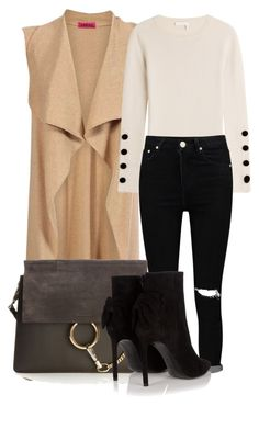 """""""Camel color sleeveless vest and black denim"""" by ojomrs on Polyvore featuring Boohoo, See by Chloé, Chloé and Yves Saint Laurent"""