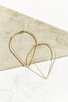 18k + Sterling Silver Delicate Geo Hoop Earring - Urban Outfitters