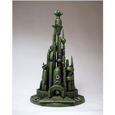 Mars Alien City Wedding Cake Topper Emerald Green Martian Towers Space... ($190) ❤ liked on Polyvore featuring home, home decor, black, cake toppers, decorations, weddings, emerald green home decor, wooden home decor, wooden sculptures and wooden dish