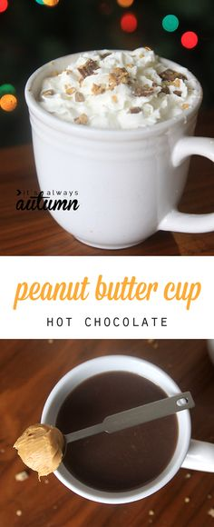 This peanut butter cup hot chocolate is amazing! Rich, delicious, and super easy to make. Click through for the recipe. #ad