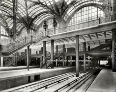 """Shorpy Historical Photo Archive :: Penn Station in New York City, """"Pennsylvania Station, track level, showing stairway and elevators. Bodega Hotel, Shorpy Historical Photos, The Bowery Boys, Long Island Railroad, Train Platform, Old Train Station, Old Trains, Vintage New York, Stairways"""