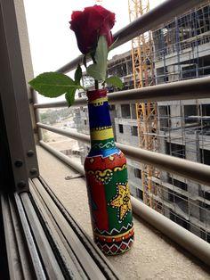 My work .... Madhubani on a bottle .... What an idea !