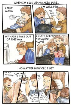 Awwh the one of lil Sammy is soooo cute Supernatural Cartoon, Supernatural Fan Art, Supernatural Imagines, Castiel, Jared Padalecki, Misha Collins, Jensen Ackles, Impala 67, Winchester Brothers