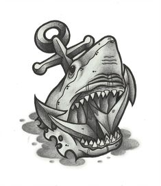Shark and anchor Tattoo by funkt-green on DeviantArt Anchor Tattoo Design, Design Tattoo, Tattoo Design Drawings, Tattoo Sketches, Tattoo Designs, Anchor Tattoos, Hai Tattoos, Bild Tattoos, Traditional Shark Tattoo