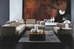 Modern Cream Fabric Sectional Sofa Tosh Furniture TOS-ANM313-50