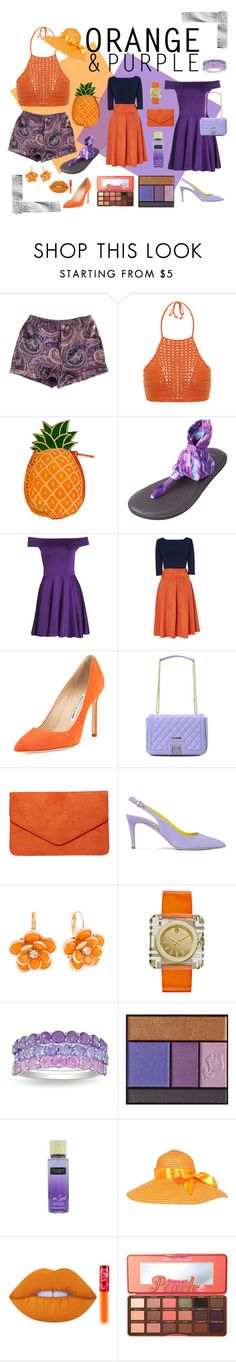 """orange & purple"" by ferlyne ❤ liked on Polyvore featuring MINKPINK, Spiritual Hippie, sanuk, Manolo Blahnik, Love Moschino, Dorothy Perkins, René Caovilla, Mixit, Tory Burch and Ice"