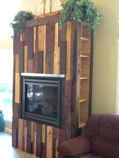 DIY fireplace finish with leftover building materials