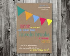 Custom bunting flag printable birthday invitation by lifewelllived, $18.00