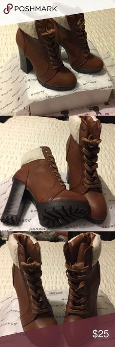 """Bamboo High heel ankle booties Bamboo 4"""" ankle lace up booties with nice faux wool at the top. All man made material NWOT. BAMBOO Shoes Ankle Boots & Booties"""