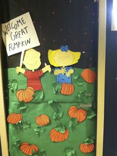 DIY Halloween Door decoration that was on a college dorm door, also great with classroom doors. Theme: It's the great pumpkin Charlie Brown. It's just butcher paper with lights behind.