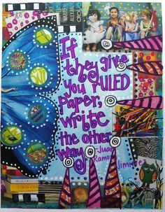 """If they give you ruled paper, write the other way."" - Juan Ramos Jimenez. Journal Page by Etsy user Simply Smith Designs"