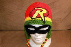 Crochet Robin Hat - Boys Superhero Hat - Batman Sidekick - Baby Hat - Child Hat - Newborn Photo Prop - Halloween Hat - Winter Hat - Costume