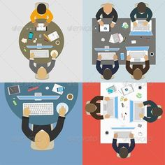 Groups of Business People Working for Office Desk