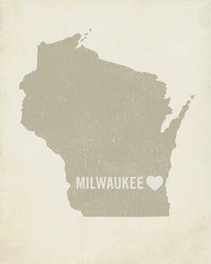 I Love Milwaukee 8x10 Art Print - Wisconsin City State Heart. $18.00, via Etsy.