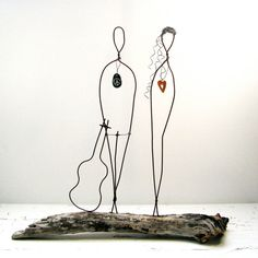 Wire Sculpture Valentines Couple Rustic House Decor  by idestudiet, $110.00
