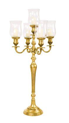 Candelabri 5 braccia oro satinato con bugie in vetro. Allestimenti per eventi e matrimoni 2016, Preludio wedding inspiration.
