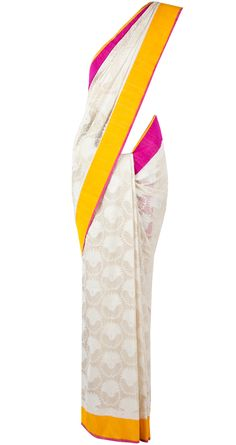 Off white banarsi sari with pink and yellow border BY SVA. Shop now at perniaspopupshop.com