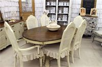 @Lindy Allen.  here is how I think I am going to redo my table.  Isn't this your exact table?  It would look fabulous redone like this with the seat slipcovers.  I think I am going to try and make some, but they are not really everyday use friendly.