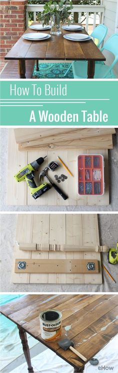Building your own wooden table may sound intimidating, but this tutorial shows you everything you need to know with step by step photos and in-depth details! Give it a try: http://www.ehow.com/how_4460460_make-wooden-table.html?utm_source=pinterest.com&utm_medium=referral&utm_content=inline&utm_campaign=fanpage