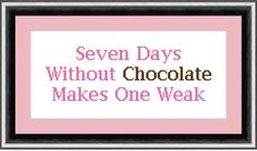 7 Days Without Chocolate Cross Stitch Chart by PenultimateCrafts, £2.30