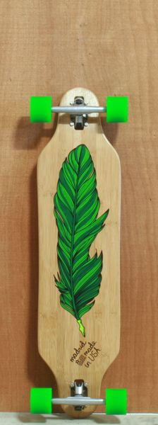 "Madrid 38"" Feather Pen Bamboo Longboard Complete"