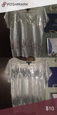 NWOT sequin shirt NWOT silver Sequin Shirt! INC from Macy's INC International Concepts Tops Blouses