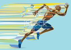 Artistic stylized running man in motion. Vector illustration.