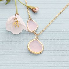 Gold Plated, Simple Double Framed Pink or Black Glass Cubic Stone Connector and Teardrop Droplet, Necklace on Etsy, $18.00