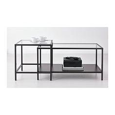IKEA - VITTSJÖ, Set di 2 tavolini, , I piani tavolo in vetro temprato resistono alle macchie e sono facili da pulire.Puoi scegliere la finitura che preferisci, poiché il ripiano è nero da un lato e marrone-nero dall'altro.È stabile anche sui pavimenti irregolari grazie ai piedini regolabili.Per risparmiare spazio, puoi inserirli l'uno sotto l'altro.
