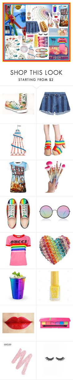"""Funfair!"" by beanpod ❤ liked on Polyvore featuring Yves Saint Laurent, Current Mood, Love Moschino, Gucci, Sunday Somewhere, Betsey Johnson, Urban Decay and Violet Voss"
