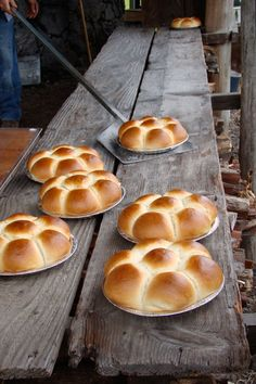 The Big Island, Hawaii...Pao Duce (Portuguese Sweet Bread) fresh out of a traditional stone oven.