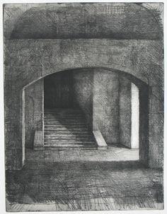 scalinata hommage a tina modotti ceramolle puntasecca 2005 70x50