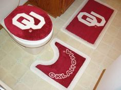$32.68 Oklahoma Sooners 3 Piece Bath Rugs  From Championship Home Accessories
