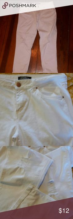"white distressed crop pants Great summer look!! Knees are ""torn"".  White with no stains or flaws minus the ones that are meant to be there.  roll up length.  Never worn! Pants"