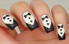 Love crisp tuxedo nails when the lines are sharp. Easy to do!